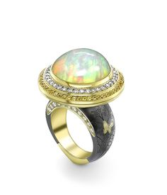 18ct Yellow Gold 15.34ct Cabochon Cut Ethiopian Opal 1.24ct Diamond & 0.99ct Yellow Sapphire Bella Donna Opening Ring