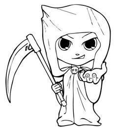 Halloween Costume Grim Reaper Coloring Page