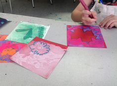 Summer Camp Projects: gelli printing with kids, drawing over prints with gel pens and metallic markers