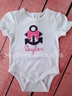 Personalized Anchor with Bow Applique Shirt by MyPixieGirlsRuffles on Etsy https://www.etsy.com/listing/235229927/personalized-anchor-with-bow-applique