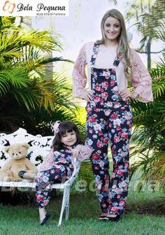 Conjunto Macacão Floral Mãe e Filha