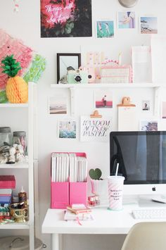 Creative workspace + home office with pops of pink! home office design, home office decor, colorful office