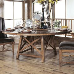 American Drew New River Old Orchard Round Dining Room Set Dimensions: Round Dining Table: Fabric Side Chair: Rustic Round Dining Table, Round Farmhouse Table, Round Dining Table Sets, Dining Table In Kitchen, Dining Table Chairs, Trestle Table, Dining Rooms, Table Bases, Wood Table