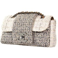Preowned Chanel Fantasy Tweed Flap Bag (263415 RSD) ❤ liked on Polyvore featuring bags, handbags, shoulder bags, beige, tweed handbags, tweed purse, preowned handbags, chain-strap handbags and pre owned handbags