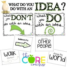 Sorting key ideas and details from the book- What Do You Do With an Idea? Super cute and already made for you!