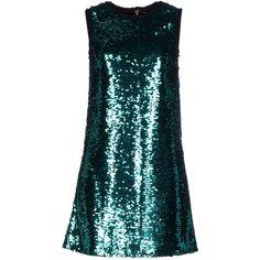 Dolce & Gabbana Short Dress ($1,595) ❤ liked on Polyvore featuring dresses, green, blue sequin dress, green cocktail dress, mini dress, blue mini dress and green dress