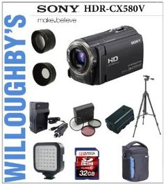Sony HDR-CX580V Camcorder + Extra Spare Battery + LED Compact Video Light + 3pc Filter Kit + Wide Angle & Telephoto Lens Set + Deluxe Camera Bag + 32GB SDHC Kit by Sony. $798.00. Equipped with an embedded 32GB internal flash memory, the Sony HDR-CX580V High Definition Handycam Camcorder (Black) can record up to 11.35 hours of HD LP video footage. It shoots Full HD 1920 x 1080 60p/24p video and can also  take 20.4 megapixels still images. It features a back-illu...