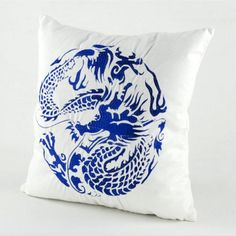 Chinoiserie dragon embroidered pillow covers blue and white cushion covers