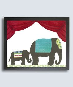 Another great find on #zulily! Mama & Baby Elephant Retro Circus Print #zulilyfinds