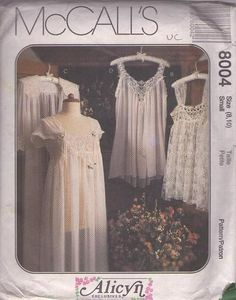 Vintage McCall's lingerie pattern 8004 uncut Bridal Nightgown, Bridal Robes, Bridal Dresses, Sewing Patterns Girls, Mccalls Sewing Patterns, Clothing Patterns, Nightgown Pattern, Lingerie Patterns, Wedding Dress Patterns
