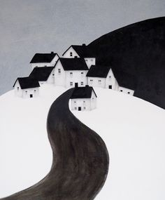 The distinctive house and landscape paintings of artist, Deb Garlick. Landscape Art, Landscape Paintings, House Paintings, Illustrations, Illustration Art, Black And White Painting, Expositions, Art Moderne, Naive Art