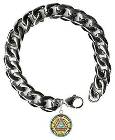 "Solomons 6th Sun for Invisibility 9"" Mens Bracelet 12mm Thick Curb Chain"