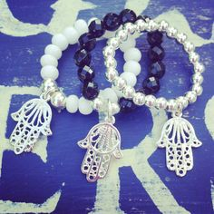 Black or white faceted Czech or sterling silver ball rings with hamsa charm