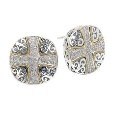 NEW 18k GOLD & STERLING SILVER .925 DIAMOND CROSS SCROLL DESIGN EARRINGS