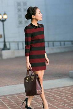 Marigold Stripes :: Shift Dress & Amber Coat ( Striped Dresses )
