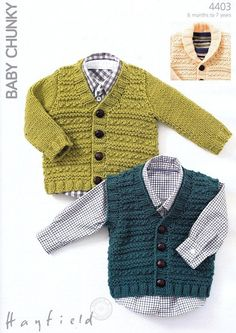 Sirdar knitted cardigan and vest pattern, 6 months - 7 years: