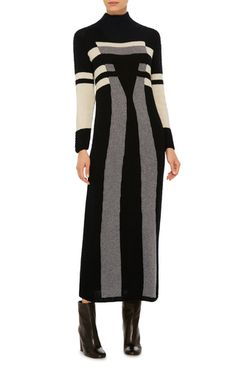 This sweater dress by **Spencer Vladimir** is rendered entirely in cashmere with a geometric print that elongates the figure.