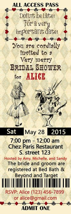 Alice in Wonderland Bridal Shower Invitation Ticket by StudioDMD