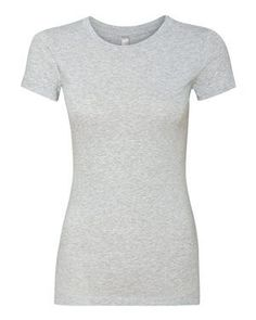 Next Level Womens The Perfect Tee Shirt -HEATHER GRAY M: Fabric laundered, oz., combed ringspun cotton, 34 singlesHeather Grey is and Neon colors are cotton/polyesterSet-in baby rib collarLonger body lengthSatin label Printed Shirts, Tee Shirts, Tees, Signature Style, Simple Dresses, Boss Lady, Cotton Tee, Heather Grey, Short Sleeve Dresses