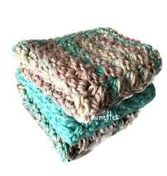Handmade Kitchen Dishcloths Pink Aqua Blue Shabby Dish Cloths Wash Cloth Crochet Cotton Set of 3