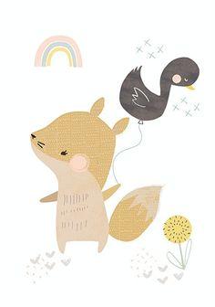 Kaart Vos met eendjes ballon. Lief pastel kleurige ansichtkaart met vosje in A6 formaat. Ontwerp: Vicky Riley.  illustratie kinderkamer babykamer decoratie pastel