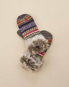 Surell Kids Girls' Aztec Fauz Fur Mittens