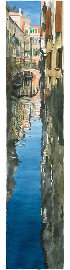 Watercolour of view from canal between houses in Venice. Annellies Clarke