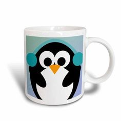 3dRose Christmas Penguin- Cute Whimsical Art, Ceramic Mug, 15-ounce