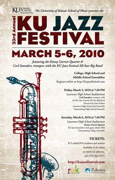 2010 KU JAZZ FESTIVAL POSTER DAVE GNOJEK Jazz Festival, Festival Posters, Concert Posters, Kenny Garrett, Play Trumpet, Jazz Poster, Register Online, University Of Kansas, Jazz Club