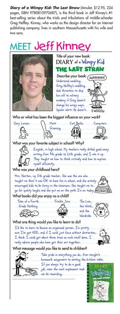Super fun illustrated interview with Diary of a Wimpy Kid author & speaker Jeff Kinney. Kids Book Club, Book Club Books, Book Clubs, Best Children Books, Childrens Books, Wimpy Kid Series, 8th Grade Ela, Jeff Kinney, Kids Choice Award