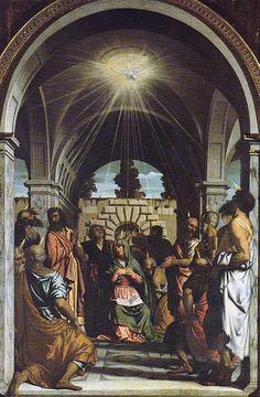Pentecoste. 1548-1550. Olio su tela. Dalla chiesa di San Giuseppe a Brescia. Pinacoteca Tosio Martinengo.