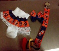 Auburn University Pacifier clip Set of 3 (socks 0-6 Mths, Pacifier & 2 Inch Bow) PERFECT BABY SHOWER GIFT !