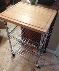 Awesome Trinity Kitchen Cart with Bamboo cutting board #TRINITYproducts #spon