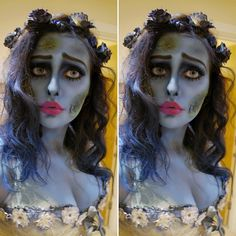 Corpse bride costume / Halloween makeup. Emily from Tim Burton Corpse Bride outfit. Zombie bride look. By @makeupformermaidss on Instagram More