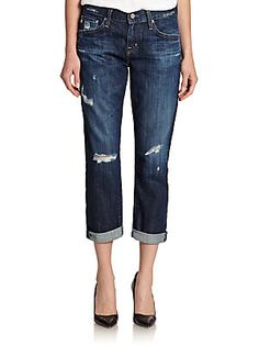 AG Distressed Ex-Boyfriend Cropped Jeans