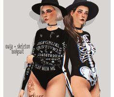 flourish, simblreen gift #1 ouija + skeleton bodysuit...