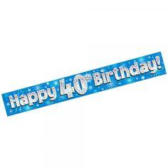 "Blue ""Happy Birthday"" banner with stars. Decoration Party, Birthday Party Decorations, Happy 40th Birthday, Blue Birthday, Party Banners, Party Supplies, Stars, Happy 40 Birthday, Sterne"
