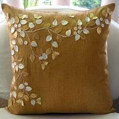 Gold Dreams Throw Pillow Cover by The Home Centric