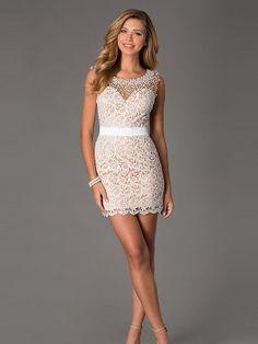 Sheath/Column Short Sleeves Scoop Pearl Short/Mini Lace Dresses - Tight Homecoming Dresses - Homecoming Dresses