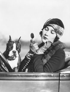 1920s woman with her dog