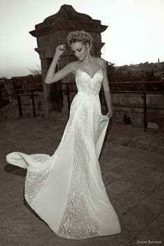 zoog studio bride 2013 wedding dress straps lace panel skirt #WeddingDress #Wedding #Dress