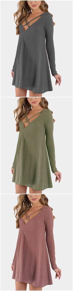 Rust Crossed Design V-neck Long Sleeves Mini Dress