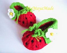 Red Strawberry Crochet Baby Booties 4 Sizes 03mo by mymayamade, $19.99
