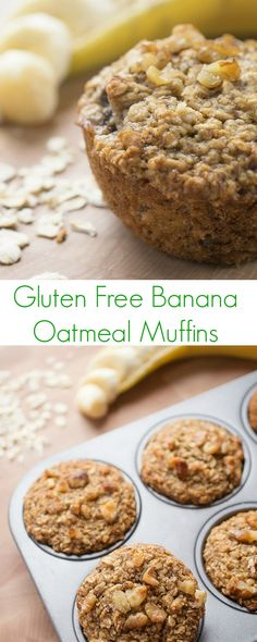 Thishealthy, whole grain and gluten free banana oatmeal muffin recipeismoist and cake-like yet contains no oil or butter.
