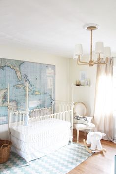 baby boy nursery / maps, chevron, & rope chandelier! / @Sarah Chintomby Tucker