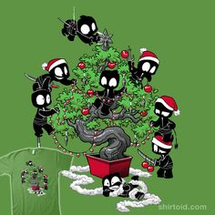 """Unstealthiest Ninja vs Tree"" by DoOomcat. Cute ninjas decorating the bonsai Christmas tree. [Sold at SHIRT.WOOT]"
