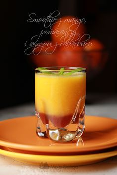 www.mojadelicja.pl Smoothie z mango,pamarańczy i syropu z rabarbaru #food #smoothies #oranges