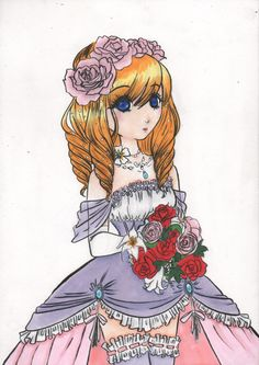 art draw work copic markers girl wedding dress flower bride color