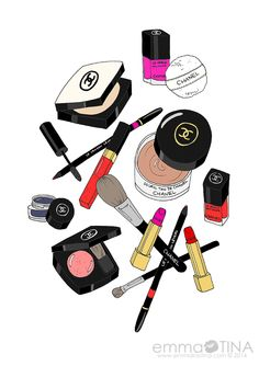 Chanel Makeup Haul Fashion Illustration Art Print A listing of one print of an original ink drawing with digital coloring of a Chanel filled luxury Chanel Art, Chanel Makeup, Makeup Illustration, Beauty Illustrations, Illustration Fashion, Makeup Drawing, Makeup Wallpapers, Makeup Haul, Make Up Art