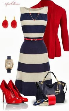 Classy outfit. Navy stripe with a splash of brigth red! Timeless!